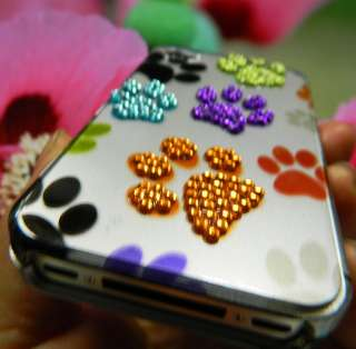 4S Hard Case Cover Purple Yellow SILVER RED BLACK BLUE DOG PAWS BLING