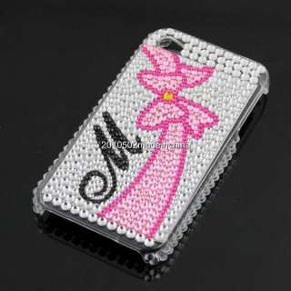 Pink Bow Luxury Bling Rhinestone Pearl hard case cover for iphone 4 4G