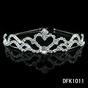 Heart Bridal Wedding crystal tiara crown headband 1011