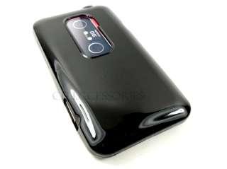 HTC EVO 3D SPRINT GLOSSY BLACK TPU SOFT SKIN COVER CASE