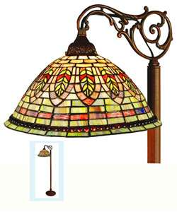 Tiffany style Stained Glass Floor Bridge Lamp