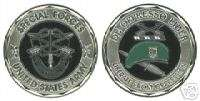 ARMY SPECIAL FORCES COLOR GREEN BERET CHALLENGE COIN