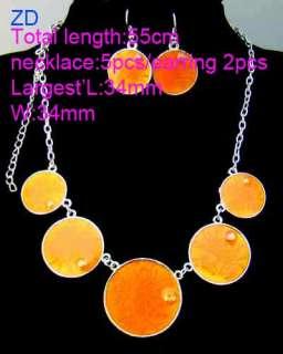 H9531 Fashion Orange Gems Circle chain Necklace Earring