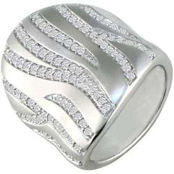 14k White Gold 7/8ct TDW Diamond Cigar Style Ring