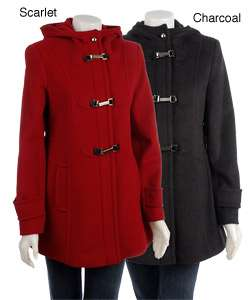Larry Levine Womens Hooded Toggle Coat