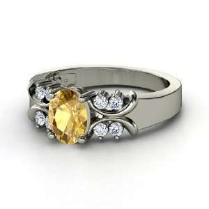 Gabrielle Ring, Oval Citrine 14K White Gold Ring with Diamond Jewelry