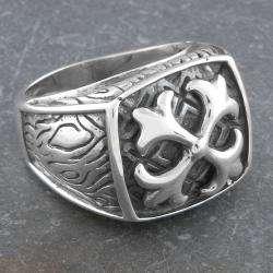 Sterling Silver Mens Fleur de Lis Ring (Indonesia)
