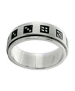 Stainless Steel Black Dice Spinner Ring (Case of 2)  Overstock