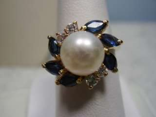 Nice 14K Yellow Gold Pearl, Sapphire, and Diamond Ring