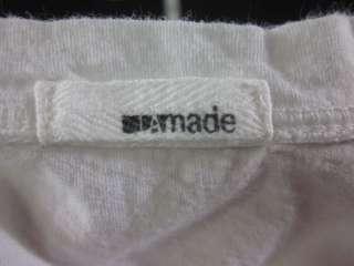 MADE White Cotton Short Sleeve Shirt Top Sz M