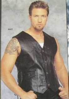 Motorcycle Leather Vest W/ Side Laces Biker Vest Jacket