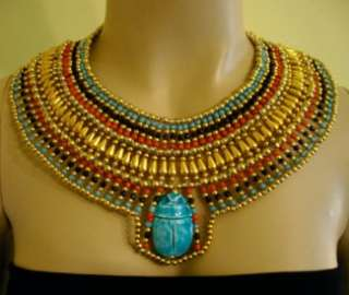 Egyptian beaded Cleopatra Collar Necklace 1 Large Blue Scarab