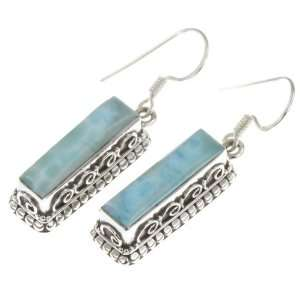 925 Sterling Silver NATURAL LARIMAR Earrings, 1.5, 10.01g Jewelry