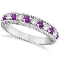 60ct Diamond & Purple Amethyst Band Filigree Statement Ring 14k