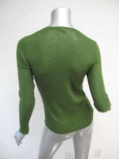 Prada Grass Green Long Sleeve Ribbed Cashmere Fitted Sweater 40