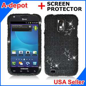 Samsung Galaxy S 2 II T989 T Mobile Black Bling Hard Case Cover+Screen