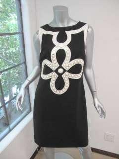 Tory Burch Black/White Plastic Bead Flower Design Sleeveless Straight