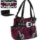 ZEBRA RHINESTONE BELT BUCKLE WESTERN PURSE HANDBAG FLAT WALLET SET