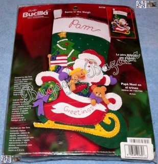 Bucilla SANTA IN SLEIGH,Toy Felt Christmas Stocking Kit