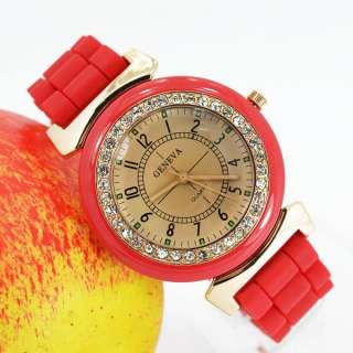 GENEVA Crystal Stones Silicone Rubber Wrist Watch Quartz Analog Women