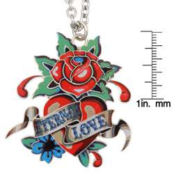 Ed Hardy Eternal Love Heart and Rose Necklace