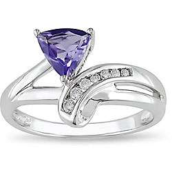 14k White Gold Iolite and Diamond Bypass style Ring