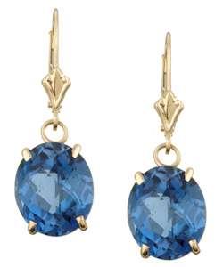 14k Gold London Blue Topaz Leverback Earrings