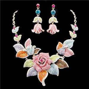 Flower Rose Multi Swarovski Crystal Necklace Earring