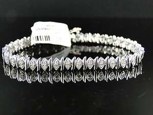 WOMENS LADIES 10K WHITE GOLD DIAMOND CLUSTER TENNIS BRACELET 1.05 CT