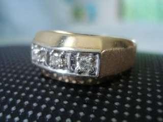 MENS GOLD DIAMOND RING 0.25CT VVS2 G 3 STONE 6 GRAMS 14K SOLID GOLD