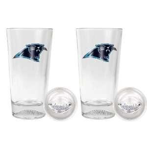 Carolina Panthers   NFL 16oz Pint Glass with Football Bottom (2 Pack
