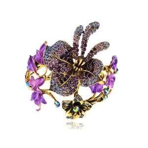 Amethyst Purple Crystal Rhinestone Spring Floral Flower