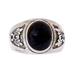 Oxidized Sterling Silver Mens Onyx Ring