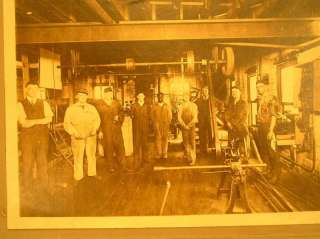 Antique Machine Shop Tool Room Men Working Photo Overhead Belt Drive