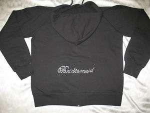 Black BRIDESMAID Crystal Bling Hoodie Wedding Jacket M MEDIUM (size 4
