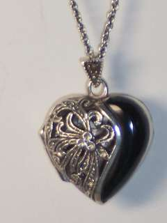STERLING SILVER OPENWORK ONYX HEART LOCKET NECKLACE WITH 18 INCH CHAIN