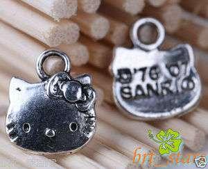 400 Pcs Tibetan silver bali style hello kitty cat charms Pendant 13