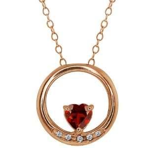 0.58 Ct Heart Shape Red Garnet and White Diamond 14k Rose