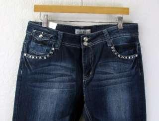 Rhinestone Fleur De Lis Plus Size Jeans Denim Pants Low Rise Stretch
