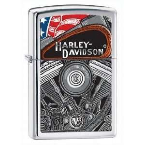 Harley Davidson V Twin Zippo Lighter, High Polish Chrome