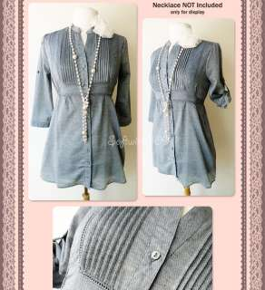 NEW Forever 21 Blue Button Down Shirt Pintuck/Roll Up Slv Long Tunic