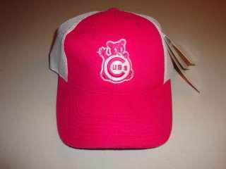 Chicago Cubs Dark Pink Baseball Cap Mesh Hat Cubby Bear
