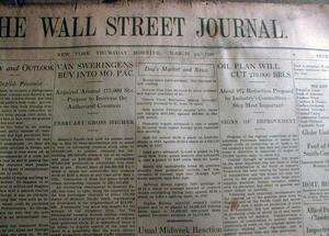 STOCK MARKET CRASH newspapers 1929 WALL STREET JOURNAL 1987 Baltimore