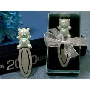 Blue Teddy Bear Baby Shower Bookmark Favors Health
