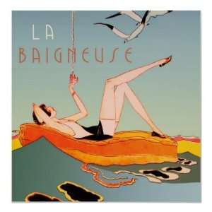 La Baigneuse (Bather), Vintage Art Deco (rare) Print