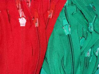 YKK GREEN & RED SEPARATING ZIPPERS 23 Heavyduty 8C