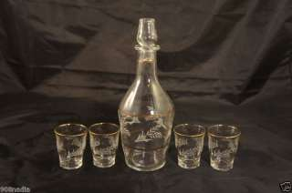 VINTAGE DECANTER AND 4 SHOT GLASSES GOLD RIM ITALY