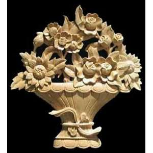 Hand Carved Solid Maple Wood Flower Basket Onlay Large Size, Model
