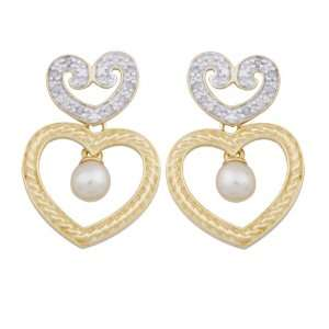 18k Yellow Gold Plated Sterling Silver Pearl and Diamond Accent Heart