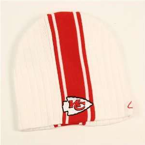 Kansas City Chiefs White Center Stripe Knit Beanie Sports